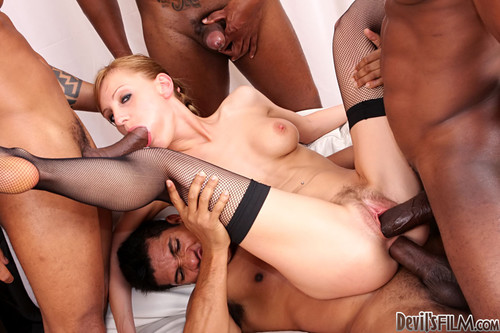 Much double penetration interracial stockings