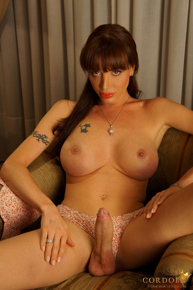Shemale carla strokes her big cock