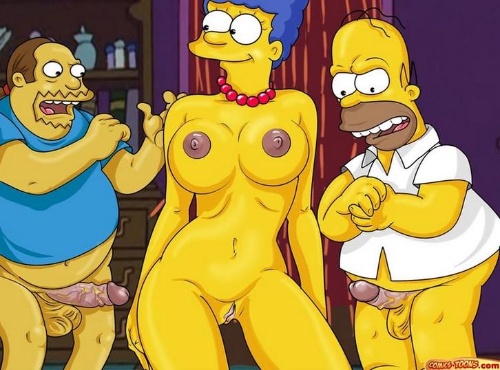 Los Simpsons Marge Homero Y El Tipo De Las Historietas Ics Toon