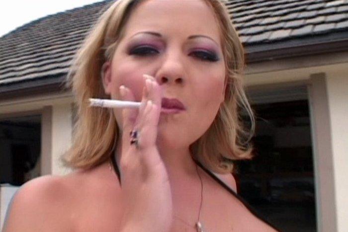 Sophia gently smoking