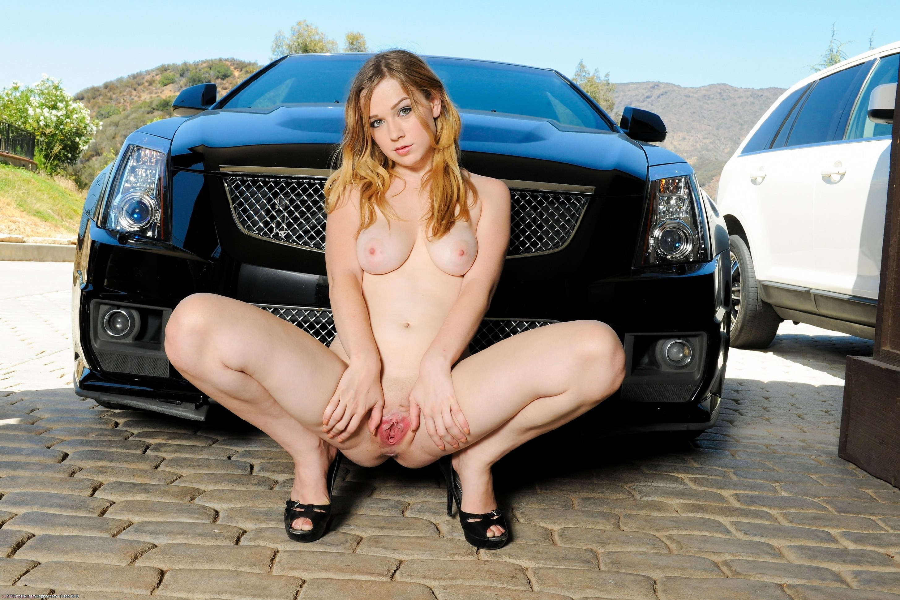 Naked with car girl