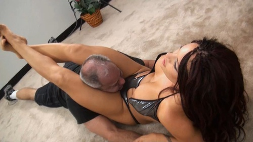 Crossing Her Legs On His Neck Female Domination