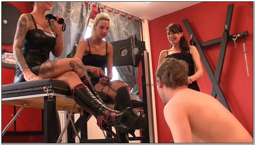 Three Dominas Treat His Face Cock And Ball Female Domination