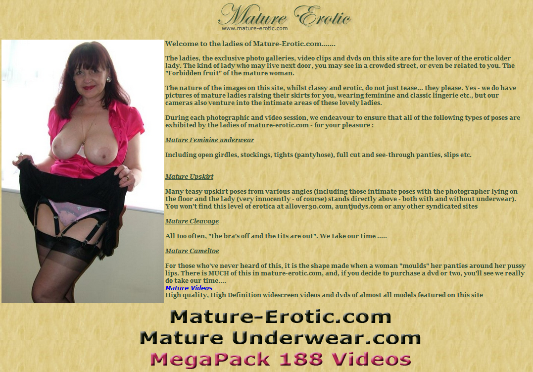 214658646864000344848686867 (Mature Erotic.com / Mature Underwear.com) MegaPack 188 Videos