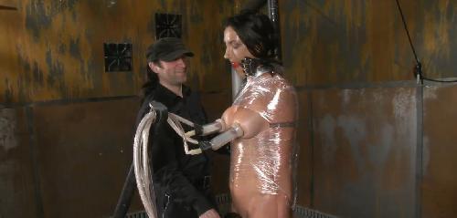 Mistress milking her slaves little man like a little dog