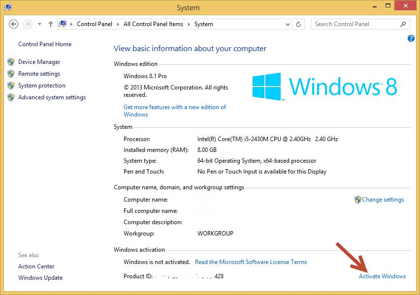 Windows 8 activator  created by vivek softwares