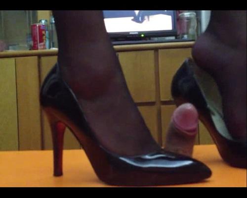 Cock Crush In Black Heels Femdom