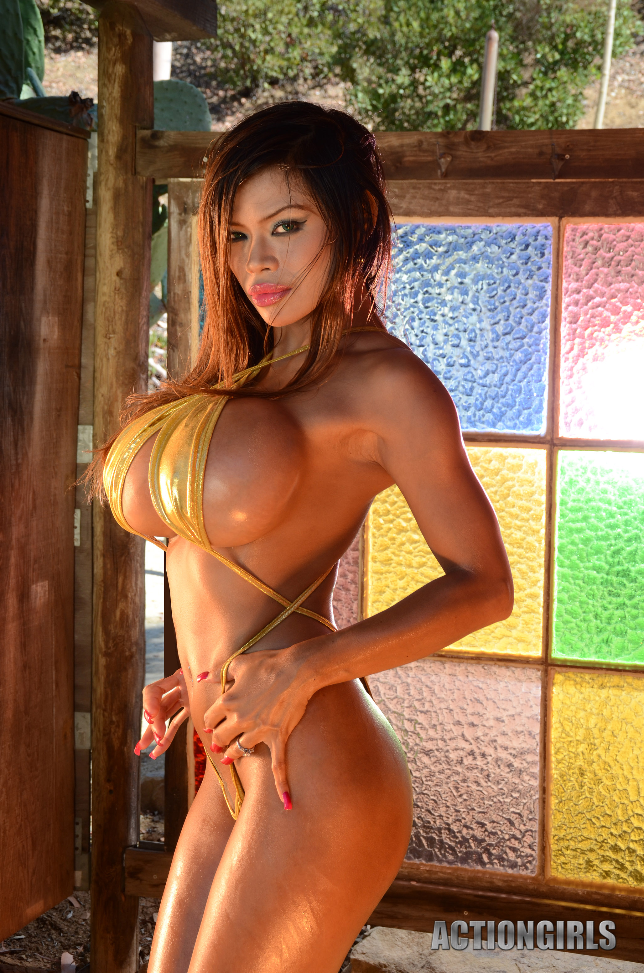 Big fake tits latina threesome training